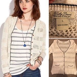 Lucky Brand | Crochet Knit Cardigan
